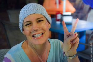 Lisa chooses a tasteful blue hat for chemo day.